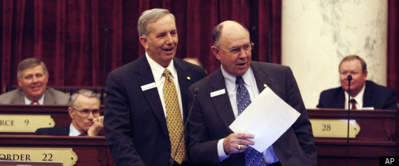 Sen. Chuck Winder of Idaho, at right, suggested women might falsely use rape as an excuse to obtain an abortion.